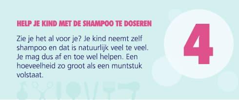 help je kind met de shampoo te doseren