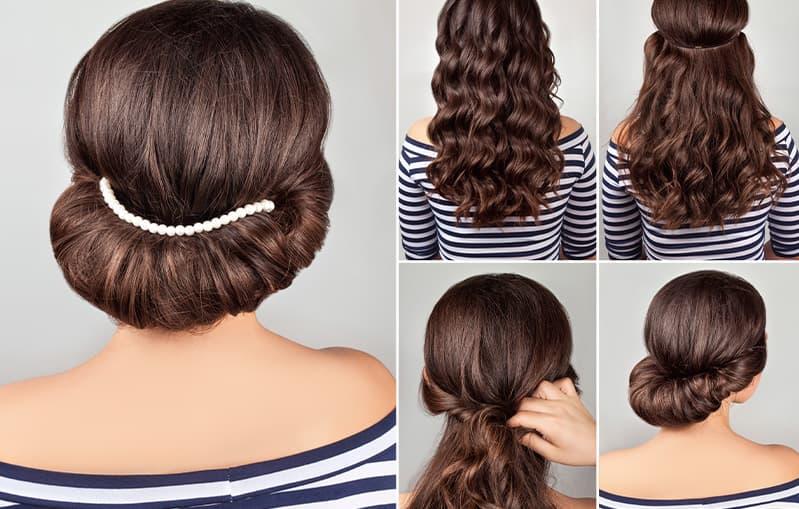 Eingedrehte Hochsteckfrisur mit Haarband