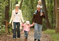 Familie, die im Wald spazieren geht