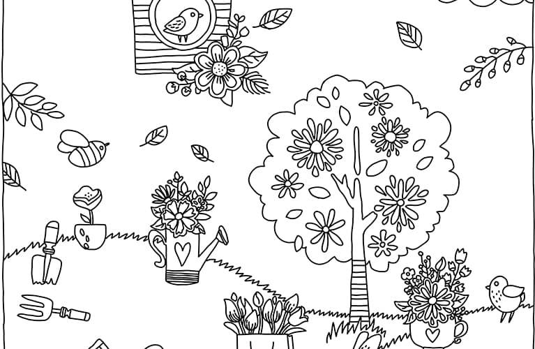 Frühlingswiese als schönes Ausmalbild