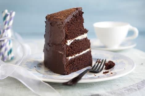 A perfect piece of birthday chocolate cake