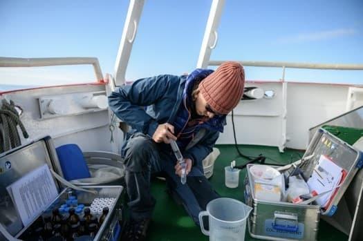 Martin Nielsen verplaatst monsters gevuld met fytoplankton en zoöplankton die hij heeft verzameld op zijn veldlocatie, een sectie van de open oceaan voor de kust van Disko-eiland. Met deze monsters kunnen onderzoekers na verloop van tijd populatieschommelingen en mogelijke verbanden met het veranderende klimaat registreren.
