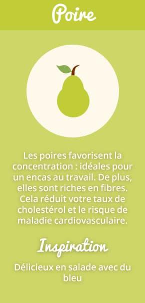 Les poires favorisent la concentration : idéales pour un encas au travail. De plus, elles sont riches en fibres. Cela réduit votre taux de cholestérol et le risque de maladie cardiovasculaire. Inspiration : délicieux en salade avec du bleu