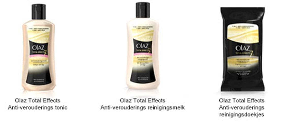 Foto van Olaz Total Effects Anti-verouderings tonic, Olaz Total Effects Anti-verouderings reinigingsmelt en Olaz Total Effects Anti-verouderings reinigingsdoekjes