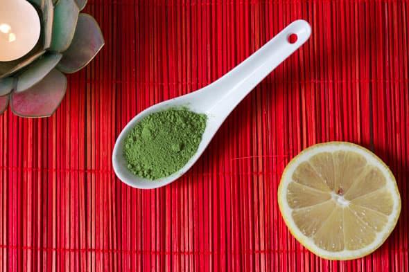 Ingrediënten matcha en citroen masker