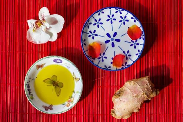 Ingrediënten gember en olijfolie masker