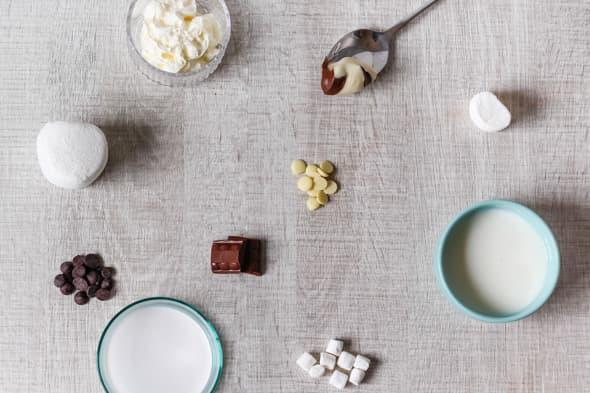 Ingrediënten chocolademelk met ijsberen-topping