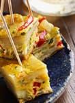 Frittata-Häppchen mit Kartoffeln und Paprika