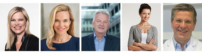 Nina Ruge (Moderatorin), Dr. Patricia Ogilvie (Hautärztin & Allergologin), Prof. Dr. Ralf Rößler (Zahnarzt), Dr. Martina Stotz (Psychologin & Lehrerin), Prof. Dr. Dirk Bockmühl (Hygieniker & Mikrobiologe)