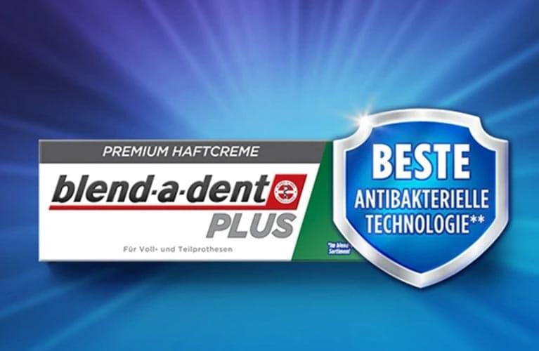 blend-a-dent Plus Beste Antibakterielle Technologie Premium Haftcreme unterstützt die Mundgesundheit.