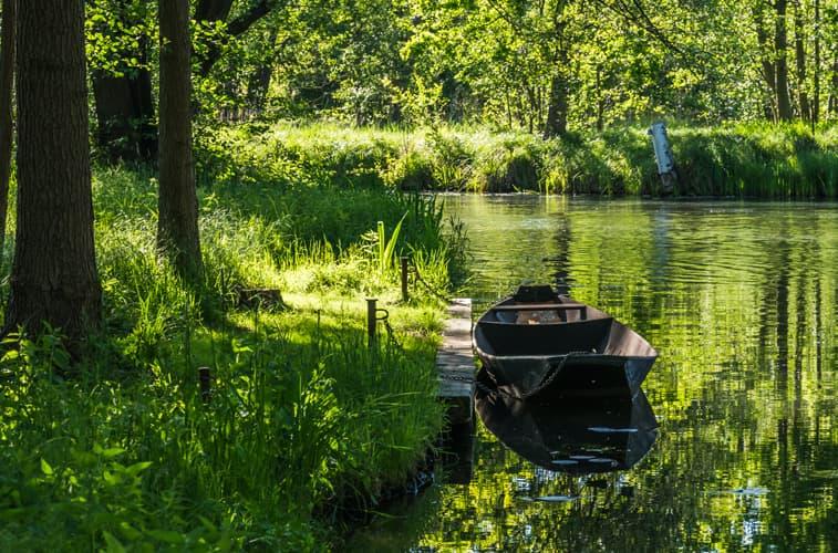 Kleiner See mit Boot in einem Wald in Brandenburg.