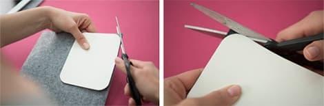 Découpe des angles de feutrine à l'aide d'un patron en carton.