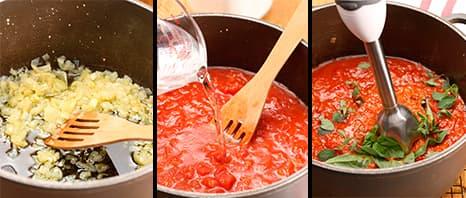 Elaborando o molho de tomate