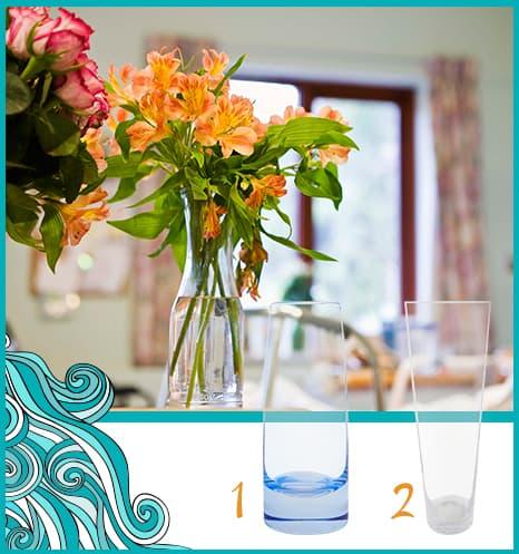 Vasos com água e flores.
