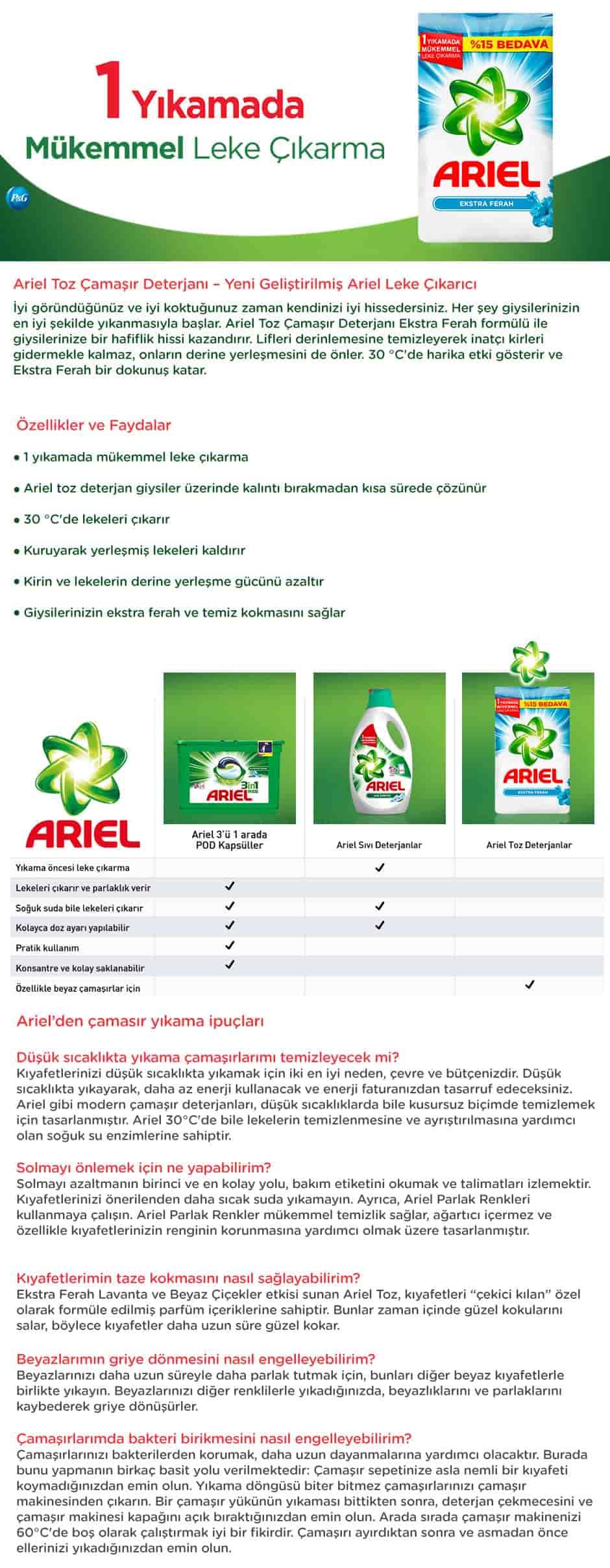 Ariel Toz Çamaşır Deterjanı Ekstra Ferah