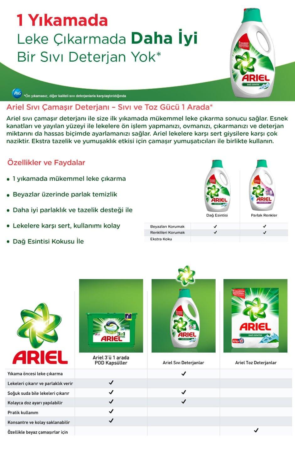 Ariel Sıvı Çamaşır Deterjanı Dağ Esintisi Beyazlar-Renkliler