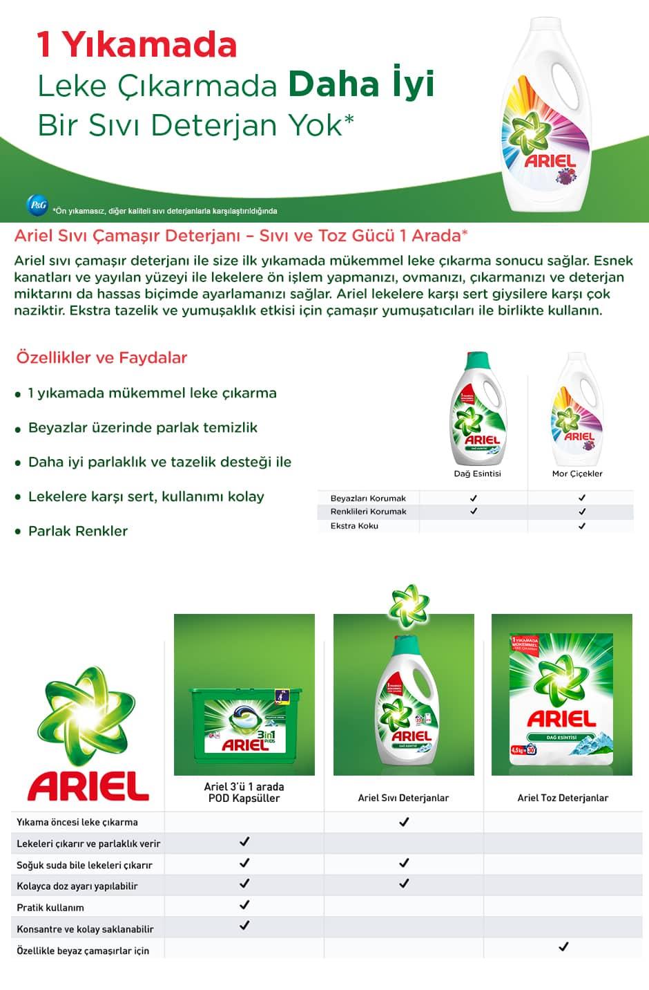 Ariel Sıvı Çamaşır Deterjanı Mor Çiçekler