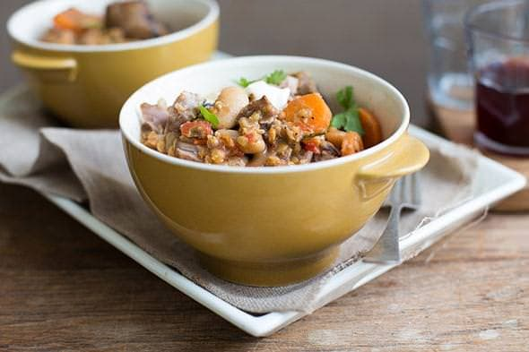 Spicy red lentil, lamb and butterbean stew